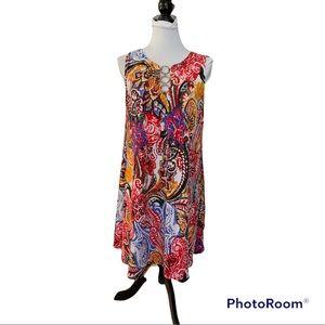 MSK multi print dress. Sleeveless round neck. Decorative gold hoops at neckline